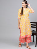 Myshka Women's Yellow Cotton Printed Half Sleeve Round Neck Casual Kurta Palazzo Set