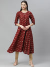 Myshka Women's Maroon cotton Printed3/4 Sleeve Round Neck Casual Anarkali Kurta