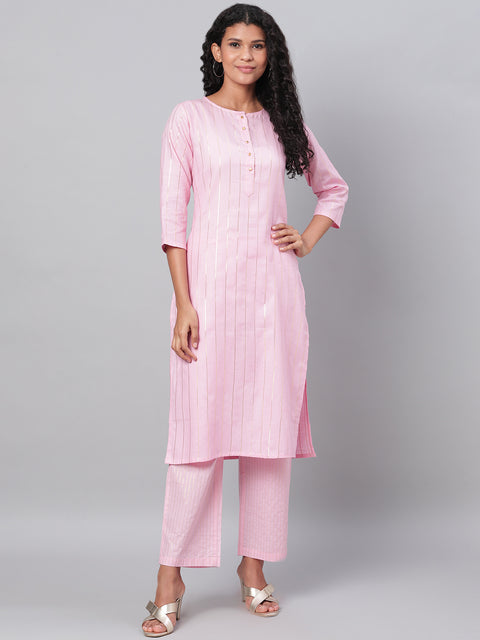Myshka Women's Pink Solid 3/4 Sleeve Cotton Round Neck  Kurta & Pant Set