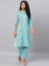 Myshka Women's Green Printed 3/4 Sleeve Poly Cotton Maidran CollerKurta &Palazzo Set