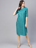 Myshka Women's Green Cotton Half Sleeve Round Neck Printed Kurtas