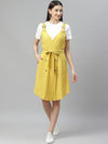 Myshka Women's YELLOW Cotton Slub Solidsleeveless Srep Neck Casual Dress