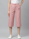 Myshka Women's Pink cotton check Casual Trouser