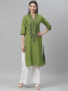 Myshka Women's Green cotton Printed3/4 Sleeve Mandrin Neck Casual kurta
