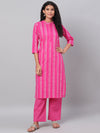 Myshka Women's Pink Printed 3/4 Sleeve Cotton Round NeckKurta & Pant Set