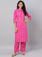 Myshka Women's Pink Printed 3/4 Sleeve Cotton Round Neck  Kurta & Pant Set