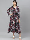 Myshka Women's Multicolor Rayon Printed  3/4 Sleeve V Neck Casual Dress