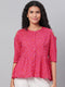 Myshka Women's Pink Printed 3/4 Sleeve Cotton Round Neck Casual Top
