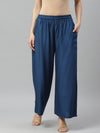 Myshka Women's Blue cotton SolidCasual Trouser