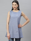 Myshka Women's Blue cotton check sleeveless Round Neck Casual Top