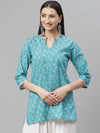 Myshka Women's Green cotton Printed3/4 Sleeve Maidran Neck Casual Kurta