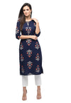 Myshka Women's Dark Blue Cotton Printed Regular Sleeves Round Neck Casual Kurta
