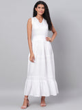 Myshka Women's White Solid Sleeveless Cotton V Neck Casual Dress