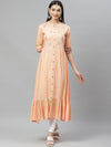 Myshka Women's Peach Rayon Embroidred3/4 SLEEVE COLLAR Casual Kurta