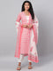 Myshka Women's Pink Printed 3/4 Sleeve Cotton Square  Neck  Kurta Pant &  Dupatta Set
