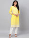 Myshka Women's Yellow Embroidrey 3/4 Sleeve Cotton Round Neck Casual Kurta