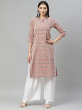Myshka Women's Multicolor cotton Check  3/4 Sleeve Mandrin Neck Casual kurta