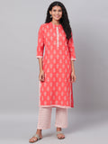 Myshka Women's Orange Printed 3/4 Sleeve Cotton Round Neck  Kurta & Pant Set