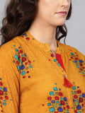 Myshka Women's yellow Cotton Solid 3/4 Sleeve Round Neck Kurta