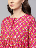 Myshka Women's Pink Viscose Rayon Printed 3/4 Sleeve Round Neck Top