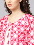 Myshka Women's Pink Cotton Printed 3/4 Sleeve Round Neck Kurta