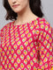 Myshka Women's Pink Rayon Printed 3/4 Sleeve Round Neck Dress