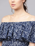 Myshka Women's Blue Cotton Printed Off Shoulder Off Soulder Kurta