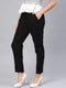 Myshka Women's Black Cotton Solid Trouser