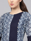 Myshka Women's Blue Cotton Printed 3/4 Sleeve Round Neck Kurta
