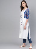 Myshka Women's White Cotton Printed Half Sleeve V Neck Casual Kurta