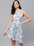 Myshka Women's Blue Polyester Printed Sleeveless Round Neck Dress