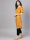 Myshka Women's Yellow crepe Printed Half Sleeve V Neck Kurta