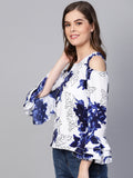 Myshka Women's White Crepe Printed Bell Sleeve Round Neck Top