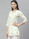 Myshka Women's off White Cotton Printed  3/4 Sleeve Round Neck Casual Tunic