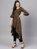 Myshka Women's Brown Rayon Printed 3/4 Sleeve Round Neck Kurta