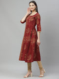 Myshka Women's Maroon cotton Printed  3/4 Sleeve Round Neck Casual Anarkali Kurta