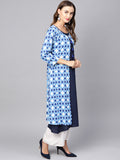 Myshka Women's Blue Cotton printed Full Sleeve Round Neck Kurta