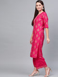 Myshka Women's Pink & Golden Cotton Printed Half Sleeve Round Neck Casual Kurta Palazzo Set