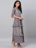 Myshka Women's Grey Printed 3/4 Sleeve Cotton Round Neck  Dress