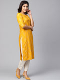 Myshka Women's Yellow Rayon Solid Half Sleeve Round Neck Kurta