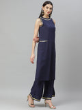 Myshka Women's Navy blue cotton solid  sleeveless Round Neck Casual kurta Palazzo Set