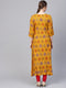 Myshka Women's Yellow Rayon Half Sleeve Round Neck Printed Kurtas