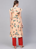 Myshka Women's Peach Polyester Short Sleeve Round Neck Printed Kurti