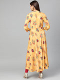 Myshka Women's Yellow Cotton Printed 3/4 Sleeve Mandarin Neck Casual Dress