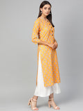 Myshka Women's Yellow Cotton Printed 3/4 Sleeve Round Neck Casual Kurta
