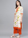 Myshka Women's Multi Cotton Printed Half Sleeve Round Neck Casual Kurta Palazzo Set