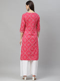 Myshka Women's PINK Cotton Printed Printed  3/4 SLEEVE Round Neck Casual Kurta