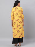 Myshka Women's Yellow Printed 3/4 Sleeve Cotton Round Neck Casual Kurta & Shrug Set
