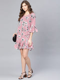 Myshka Women's Pink Poly Crepe Printed Bell Sleeve Round Neck Dress