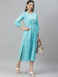 Myshka Women's Blue cotton Printed  3/4 Sleeve Round Neck Casual Dress